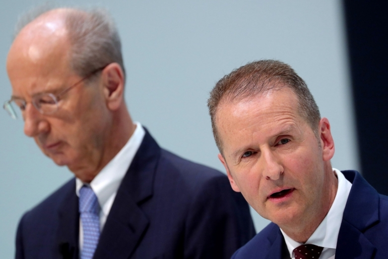 Hans Dieter Potsch (L) and Herbert Diess (R) are the latest executives to come under fire over the emissions scandal [File: Kriszrian Bocsi/Bloomberg]