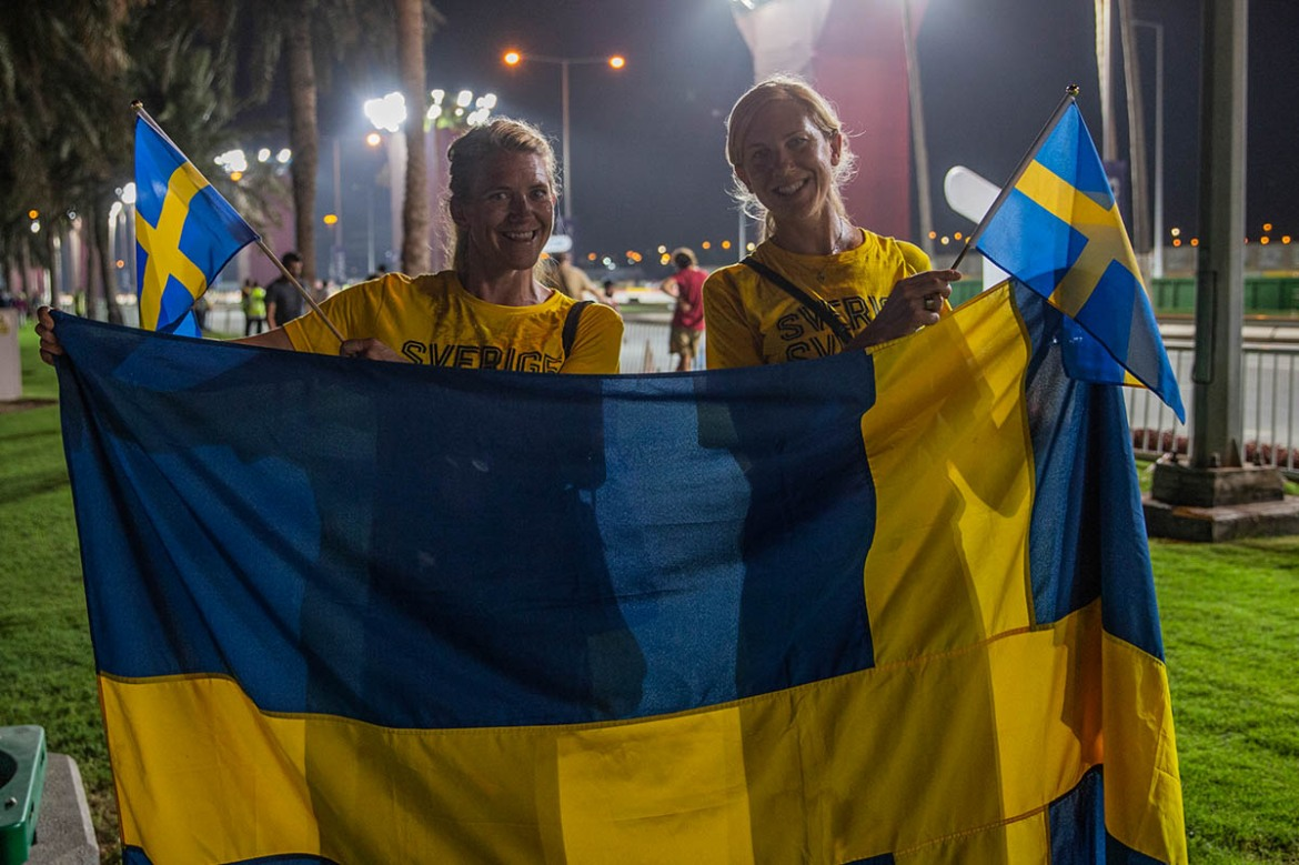 Ulrika and Katarina flew in from Sweden to support their friend who was taking part in the marathon. 'We knew conditions would be testing but this is too much. I don't think the organisers should have put the athletes through this. It's very demanding,' said Ulrika, sweating profusely as she stopped for a quick chat. [Faras Ghani/Al Jazeera]