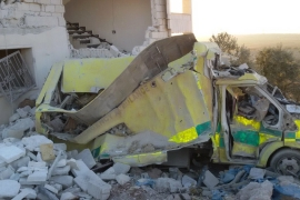 Health facilities have repeatedly been targeted in the rebel-held Idlib region [File: Shafak Charity Organization via AP]