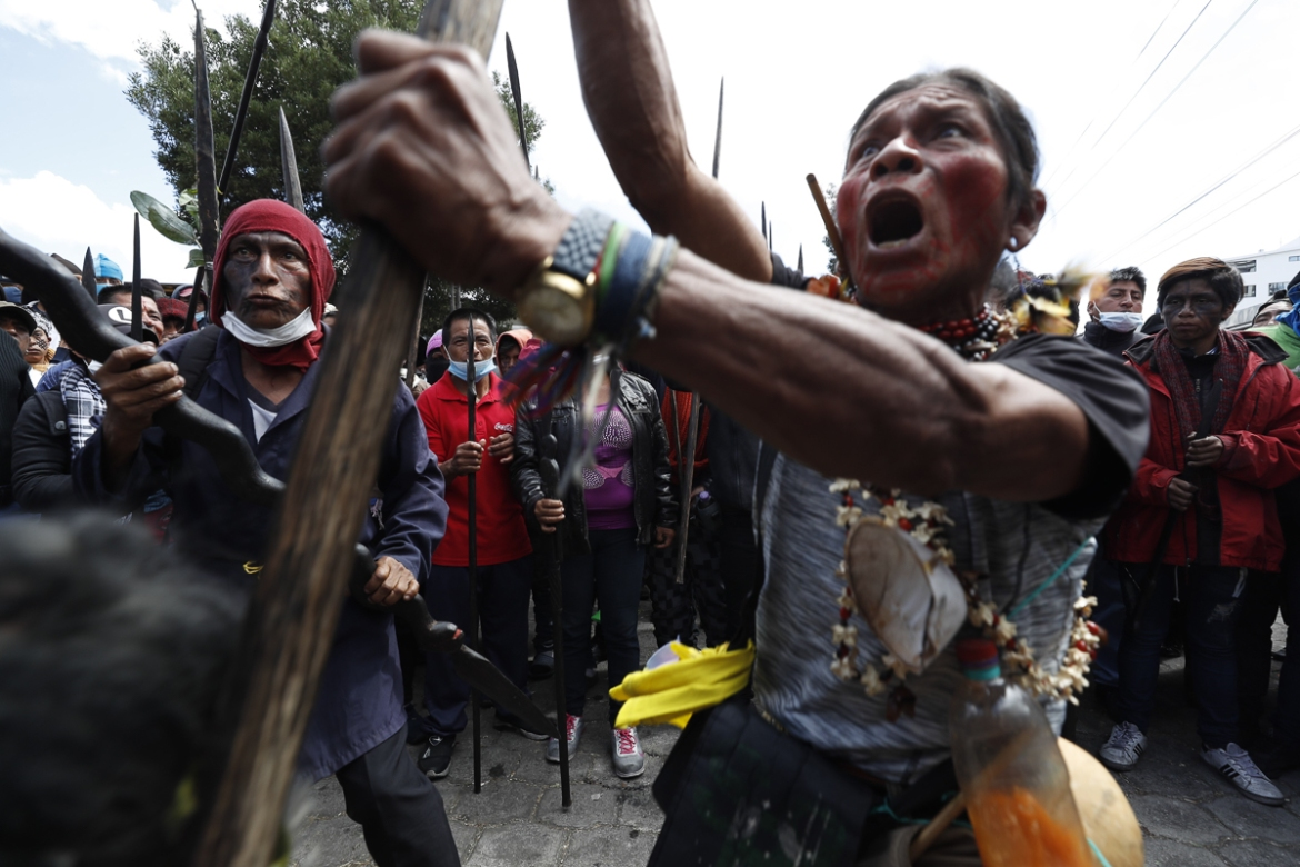 Hundreds of warriors from the Ecuadorian Amazon joined the protests against the government's economic measures [Paolo Aguilar/EPA]