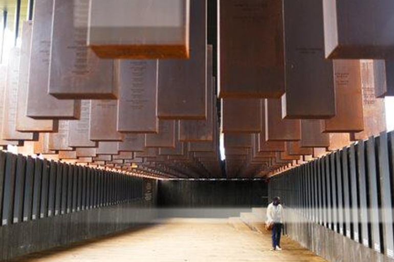 The National Memorial for Peace and Justice honours thousands of people killed in racist lynchings in Montgomery, Alabama [File: Brynn Anderson/AP]