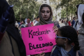 Demonstrators protest in solidarity with the people of Kashmir outside the United Nations headquarters in New York, US, September 27, 2019 [Shannon Stapleton/Reuters]