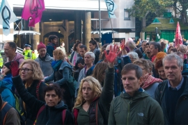 Extinction Rebellion activists turned up in their hundreds on Friday in London [Ylenia Gostoli/Al Jazeera]