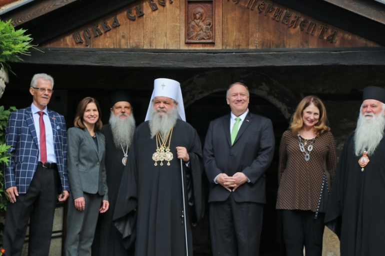 United States Secretary of State Mike Pompeo (third from right) visits the St Mary Peribleptos Church in Ohrid, North Macedonia [Besar Ademi/Anadolu]