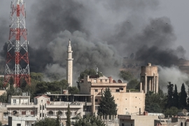 A picture taken from Turkish territory shows smoke rising from targets inside Syria during bombardment by Turkish forces at Ras al-Ein town, as seen from Ceylanpinar, in Sanliurfa, Turkey 10 October 2019. Turkey has launched an offensive targeting Kurdish forces in north-eastern Syria, days after the US withdrew troops from the area. [Sedat Suna/EPA] [EPA]