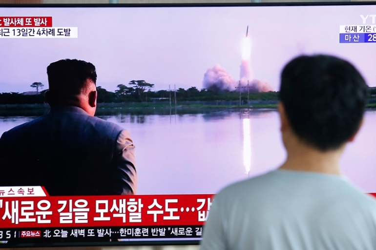 North Korea has fired a missile, its ninth launch since June. It said earlier it would resume talks with the US. [Ahn Young-joon/AP Photo]