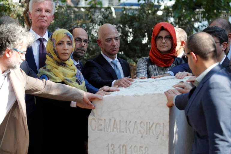 The ceremony concluded with the unveiling of a memorial stone for Khashoggi [Umit Bektas/Reuters]