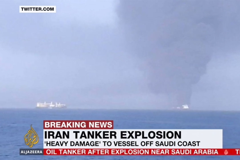 The hull of the Iranian oil tanker sustained two separate explosions about 100km (60 miles) off the Saudi port city of Jeddah, Iran's national tanker company said [Al Jazeera]