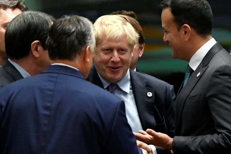 A rally in sterling proved temporary as the Northern Irish Democratic Unionist Party (DUP) that British Prime Minister Boris Johnson relies on in parliament said it would vote against the deal at an extraordinary session on Saturday [File: Piroschka van de Wouw/Reuters]