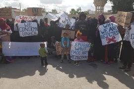 At least 40 people staged a protest at the UNHCR-run GDF facility in Tripoli on Thursday [Al Jazeera]