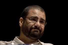 Alaa Abdel Fattah was released in March after serving a five-year sentence for protesting without permission [Nariman El-Moft/AP]