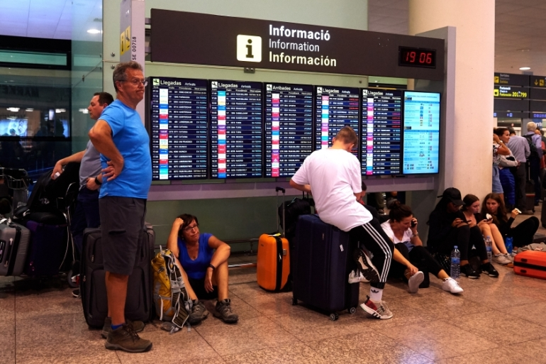 At least 45 flights from Barcelona were cancelled on Tuesday, after more than 100 were grounded on Monday [Alex Caparros/Getty Images]