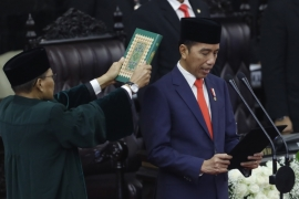 Widodo has pledged to continue his signature policies of big-ticket infrastructure development and pro-poor initiatives [Adi Weda/Pool Photo/AP Photo]