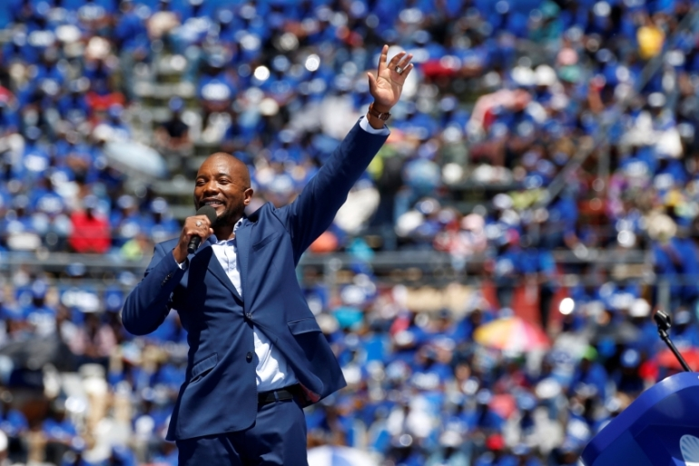 Mmusi Maimane was elected as the leader of the DA party in 2015 [Siphiwe Sibeko/Reuters]