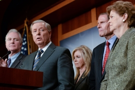Senate Republicans and Democrats hold a news conference about the sanctions bill [Erin Scott/Reuters]