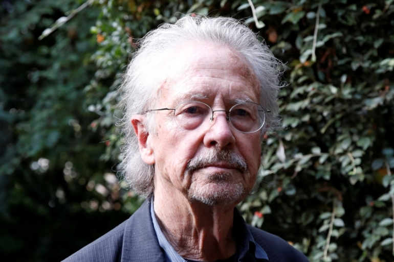 Peter Handke was given the Nobel Prize for literature on Thursday [Christian Hartmann/Reuters]