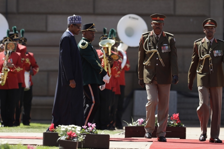 Buhari's visit is the first by a Nigerian president to South Africa in six years [Themba Hadebe/AP]