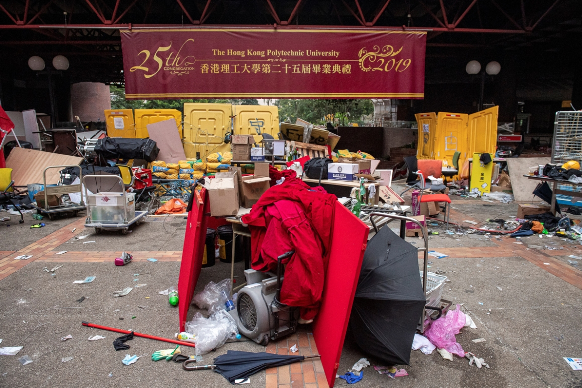 Debris inside the campus where protesters have barricaded themselves. The standoff has been the most intense and prolonged in nearly six months of unrest. [Nicolas Asfouri/AFP]
