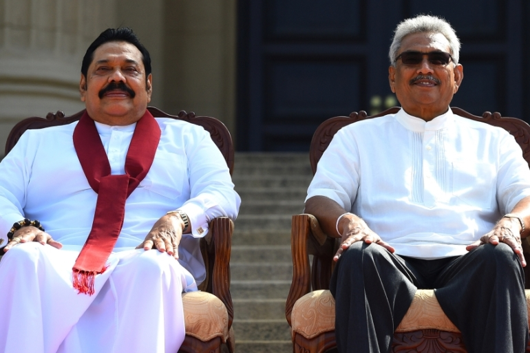 President Gotabaya Rajapaksa, right, has been running the government without a parliament since it was dissolved in March [File: Ishara S Kodikara/AFP]