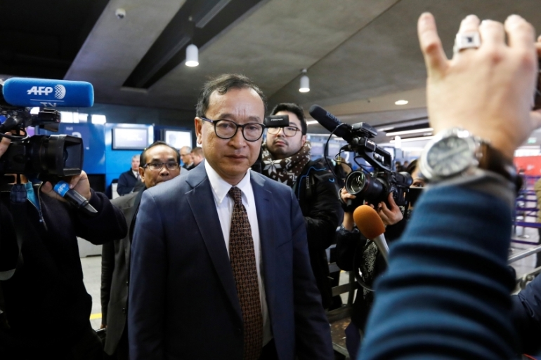 Rainsy, the leader of the Cambodia National Rescue Party, has been living in France since 2015 [Charles Platiau/Reuters]