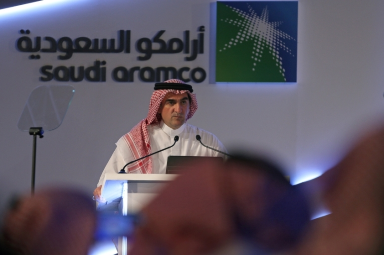 Yasser al-Rumayyan, Saudi Aramco's chairman, speaks during a news conference in Dhahran, Saudi Arabia [Hamad I Mohammed/Reuters]