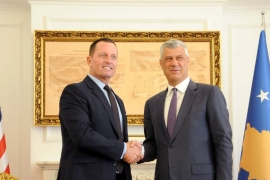 US special envoy Richard Grenell is welcomed by Kosovo President Hashim Thaci in Pristina, Kosovo on October 9, 2019 [Reuters/Laura Hasani]