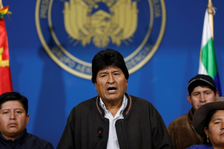 Bolivian President Evo Morales addresses reporters after the release of the OAS preliminary report [Carlos Garcia/Reuters]