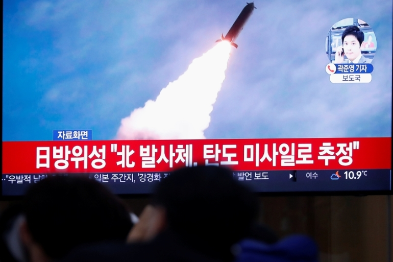 Seoul said Pyongyang fired two projectiles eastwards from South Hamgyong Province [Reuters]