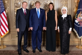 President of Turkey, Recep Tayyip Erdogan, left, and his wife Emine, far right, pose with US President Donald Trump and his wife Melania before a dinner on the sidelines of the United Nations General Assembly in September [Turkish Presidency/Handout/Anadolu]