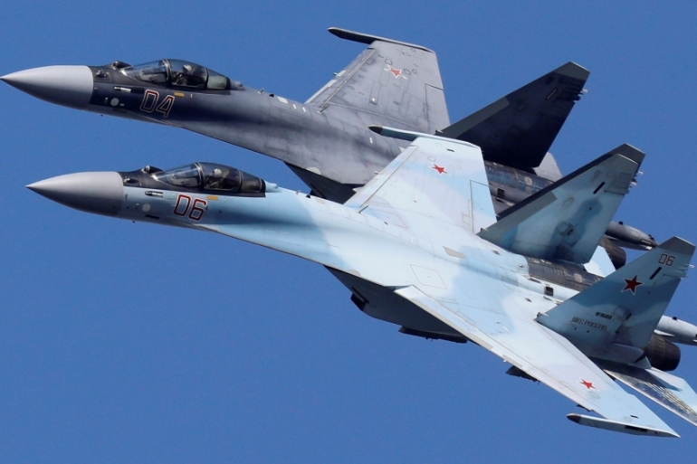 Egypt earlier this year signed a $2bn agreement with Russia to buy more than 20 Su-35 fighter jets, seen here being flown by a Russian aerobatic team during a rehearsal for the airshow in Krasnoyarsk, Russia [File: Ilya Naymushin/Reuters]