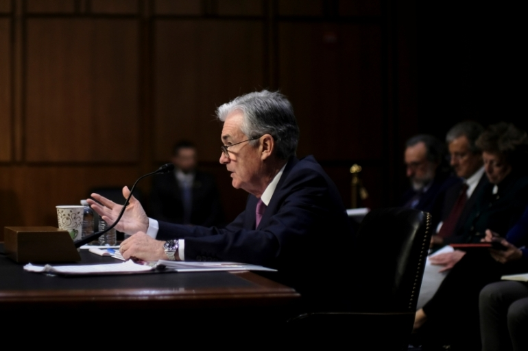United States Federal Reserve Board Chairman Jerome Powell testifies before a Joint Economic Committee hearing on Capitol Hill in Washington [James Lawler Duggan/Reuters]