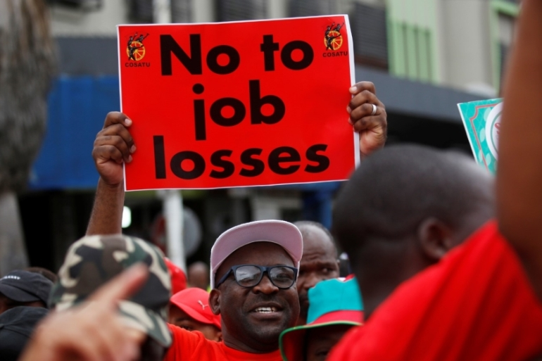 Unions of South African Airways workers are protesting planned job cuts at the state-owned firm, which has been struggling to stem financial losses since 2011 [File: Rogan Ward/Reuters]