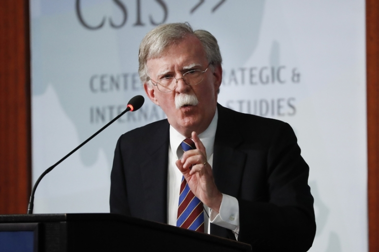 Former National security adviser John Bolton said accused the White House of suppressing his Twitter account. [File: Pablo Martinez Monsivais/The Associated Press]