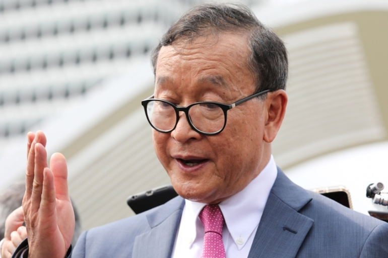 Self-exiled Cambodian opposition party founder Sam Rainsy accused Prime Minister Hun Sen's government of 'siding with China' [Lim Huey Teng/Reuters]