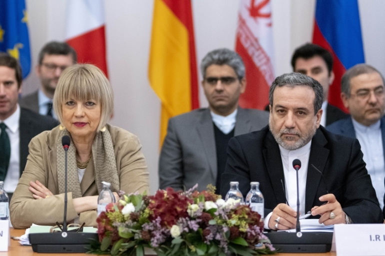 Iranian political deputy at the Ministry of Foreign Affairs of Iran Abbas Araghchi, right, and German Secretary General of the European External Action Service (EEAS) Helga Maria Schmid attend a JCPOA meeting at EU Delegation to the International Organizations office in Vienna, Austria [Joe Klamar/AFP]
