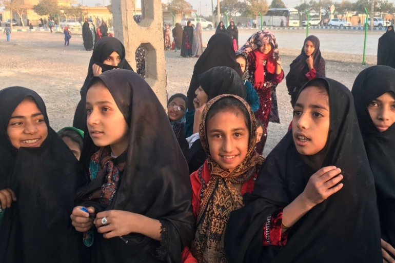 Afghan refugee girls gather at the Bardsir settlement for Afghan refugees in Kerman province, Iran on October 22, 2016 [File: Reuters/Gabriela Baczynska]