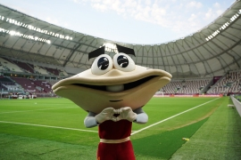 Sodeifi, the mascot of the 24th Arabian Gulf Cup, was first launched in 2004 when Qatar hosted the tournament for the third time. [Sorin Furcoi/Al Jazeera]