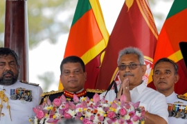 Sri Lanka's President Gotabaya Rajapaksa gestures while addressing the nation at the presidential swearing-in ceremony in Anuradhapura on November 18, 2019 [File: Dinuka Liyanawatte/Reuters]