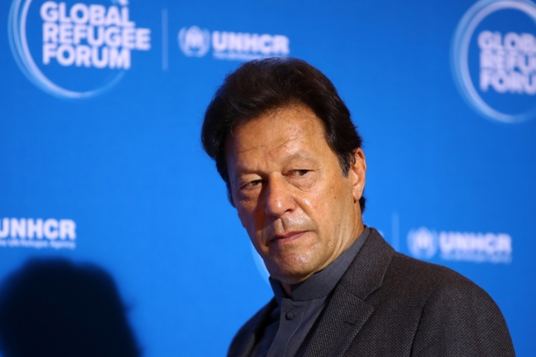 Khan said the Indian government was planning to change the demography of Kashmir [Denis Balibouse/Reuters]