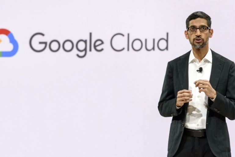 Sundar Pichai, former chief executive officer at Google LLC, speaks during the Google Cloud Next '19 event in California, US [File: Michael Short/Bloomberg]