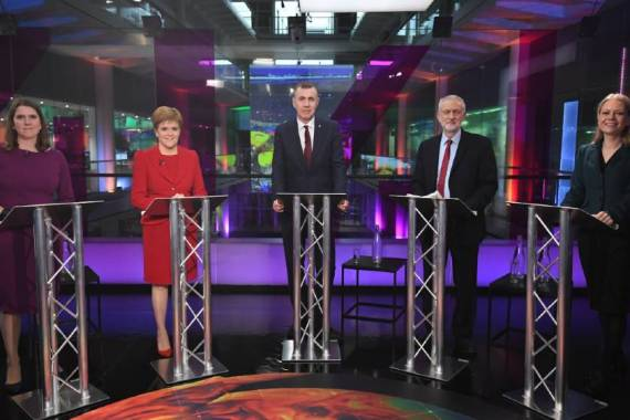 While not included in all TV debates, Plaid Cymru's Adam Price (centre) and the Green Party's Sian Berry (right) took part in Channel 4's climate debate, alongside Labour's Jeremy Corbyn (2R), the Lib-Dems' Jo Swinson (left) and the SNP's Nicola Sturgeon (2L) [Kirsty O'Connor/PA/Pool/Reuters]