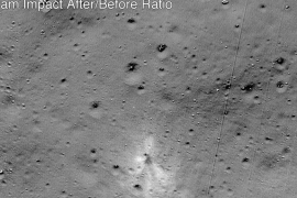 This handout image released by NASA, and taken by the Lunar Reconnaissance Orbiter Camera team, shows the Vikram Lander impact point [Handout/NASA/AFP]