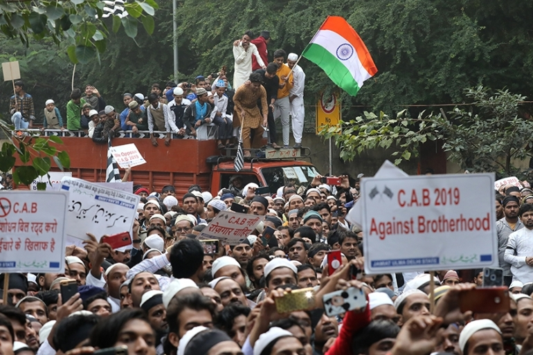 A protest in New Delhi against the 'anti-Muslim' citizenship law, which critics say violates India's secular constitution [Rajat Gupta/EPA]