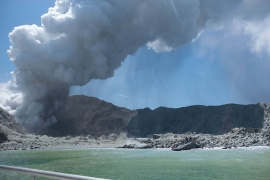 The volcano erupted in New Zealand on Monday, spewing a plume of ash thousands of feet into the air. [Michael Schade/AFP]