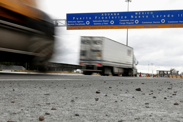 Trucks arriving at a border customs control to cross into US at the World Trade Bridge in Nuevo Laredo, Mexico June 5, 2019. REUTERS/Carlos Jasso [Reuters]