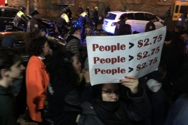 Protesters march against NYPD's crackdown on fare evaders [Samira Sadeque/Al Jazeera]