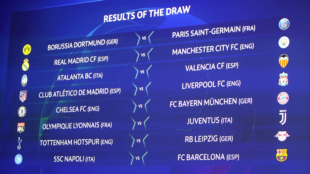 uefa champions league draw knockout fixtures 2020 announced europe news al jazeera uefa champions league draw knockout