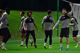 Liverpool train at Qatar University in the capital, Doha before their semi-final match [Giuseppe Cacace/AFP]