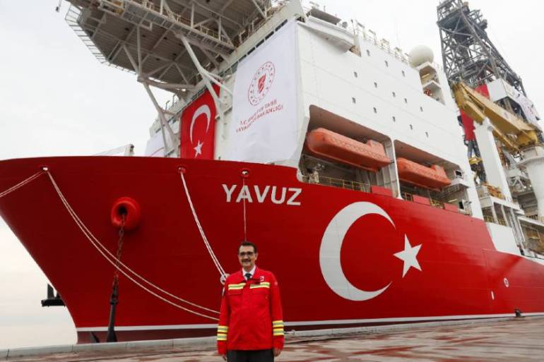 Turkey's Energy Minister Fatih Donmez says a drilling vessel such as the Yavuz will soon head to waters claimed by Greece [Murad Sezer/Reuters]