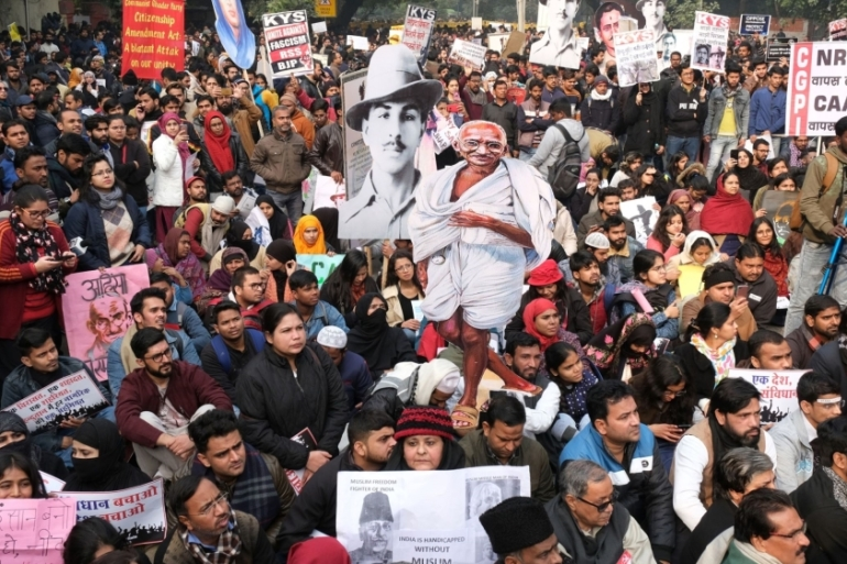The Indian government is struggling to contain growing nationwide protests against a new federal religion-based citizenship law that's seen at least 24 people killed in clashes between police and demonstrators [File: T. Narayan/Bloomberg]